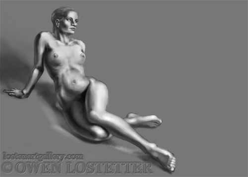 Limited Edition print. Digital drawing by Owen Lostetter digital artist, digital art, speed painting, nude figure drawing, female nude, artistic nude.